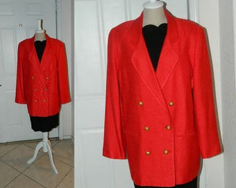 Red Silk Jacket - Doncaster - Size 14
