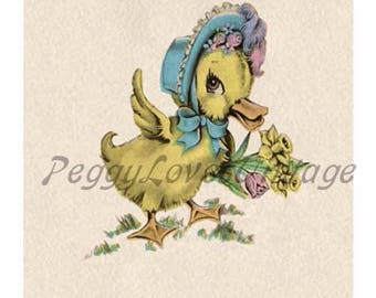 Easter 4 a Sweet Duck with a Spring Bouquet a Digital Image from Vintage Greeting Cards - Instant Download
