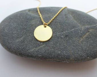 Long Gold Necklace Gold Disc Necklace Dainty Gold Necklace Minimalist Necklace Delicate Jewelry Long Delicate Necklace Bridesmaids Necklace