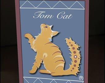 "Tom Cat 4.25"" x 6"" Blank Greeting Card"