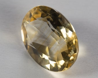 Natural Pale Yellow Citrine, Oval Mixed Cut, 8.13ct