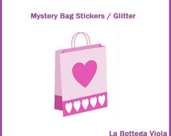 Mystery Grab bag surprise-parcel box gift stickers/Glitter-FREE shipping In Italy