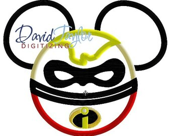 Mickey Head - Mr. Incredible (Bob) - Embroidery Machine Design - Applique - Instant Download - David Taylor Digitizing