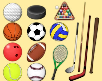 Sports Clipart - 146 jpeg and png files 300 dpi 6 inches - Sports Images Stock Large Format