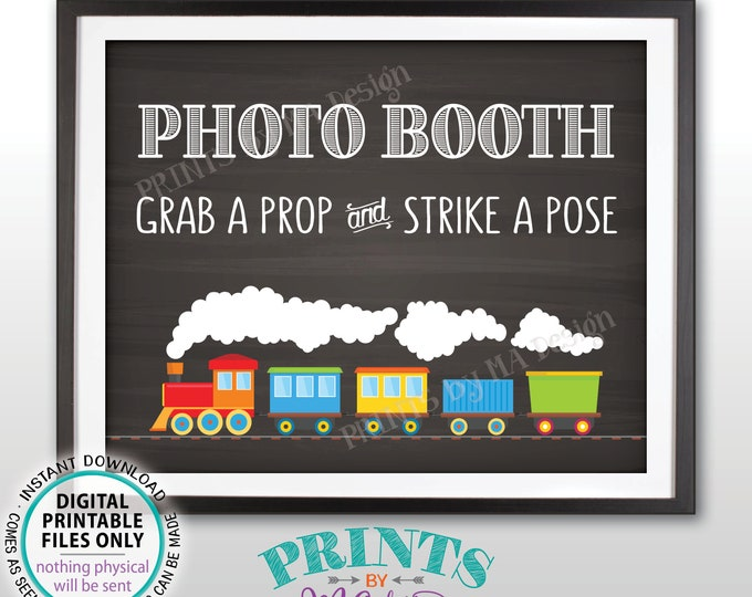 "Train Birthday Photobooth Sign, Photobooth Station, Selfie Staion Sign, Photo Booth Sign, Chalkboard Style PRINTABLE 8x10"" Train Sign <ID>"