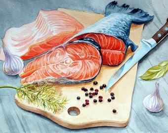 Still life, watercolor fish