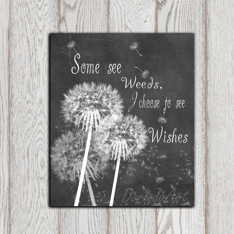 Chalkboard Quotes: Dandelion Art Print Inspirational Quote Chalkboard Printable