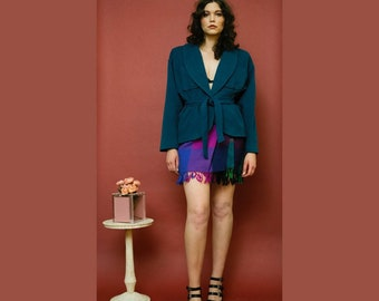 vintage 1980s Emanuel Ungaro teal belted wool jacket with shoulder pads