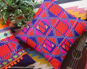 Aztec Pillow Orange and Purple - Ethnic Gypsy Cushion Cover Boho Home Decor