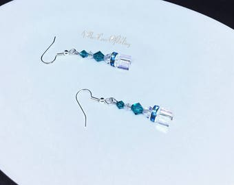 Drop Earrings made with Swarovski Crystals in Blue Zircon and Crystal AB with Rhinestone Rondelles and Crystal Cubes | Crystal Elegance