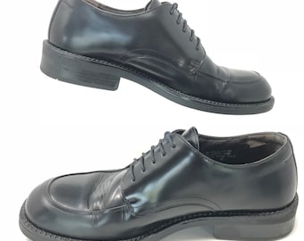 Bass Leather Made in Italy Oxford Black Lace Up Mens Shoes Size 10