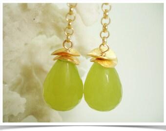 Rio...facetted lime green Brasilianite stone, green earring chain, green gift idea, light green stone, green earring,green stone dangle,sale