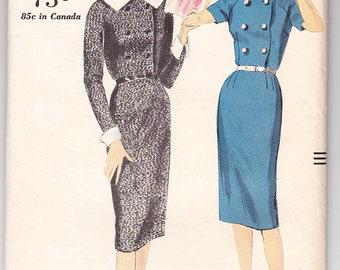 Vintage 1959 Vogue 9838 Sewing Pattern Misses One-Piece Dress Size 14 Bust 34