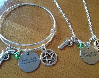 Supernatural saving people,  hunting things silver expandable bracelet/necklace/key ring options