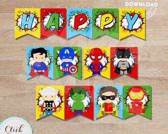 Superhero Banner, Super Hero Birthday Banner, Superheroes Birthday Party Printable, Birthday party decorations INSTANT DOWNLOAD