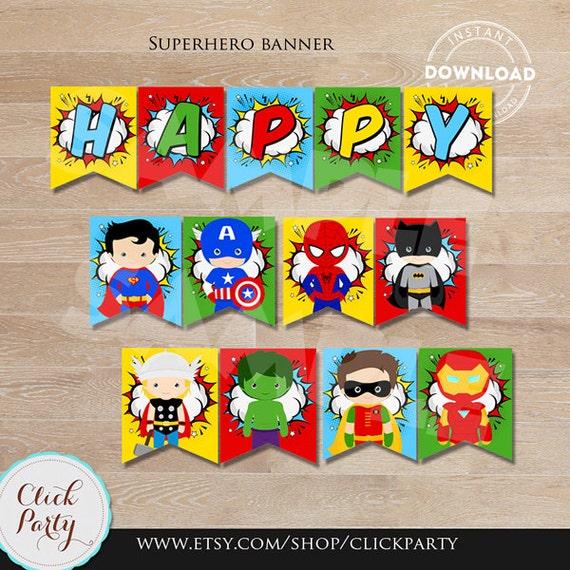 Superhero Banner Super Hero Birthday Banner Superheroes