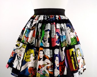 Pinup Comic Skirt / Vintage Inspired