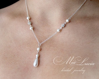 Bridal Y-necklace, Bridal Pearl Y-necklace, Wedding Jewelry ,Bridal Jewelry, Pearl Necklace, Bridal Necklace, Wedding Necklace,  art.240