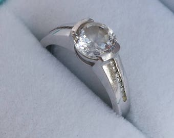 Beautiful Solitaire  CZ Vintage Ring SALE!! - Sterling Silver, U.S. Size 6.25. Cubic Zirconia, Engagement, Dress Ring, Giftboxed