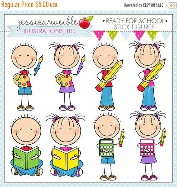 on sale ready for school stick figures cute digital clipart for rh etsystudio com Owl Teacher Clip Art Teacher Clip Art Black and White