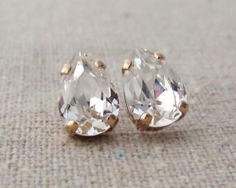 Swarovski Crystal Faux Diamond Tiny Teardrop Rhinestone Pear Rose Gold Post Earrings Bridal Jewelry Bridesmaids Presents Gifts Flowergirl