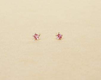 3 mm Teeny Tiny Pink Crystal 925 Sterling Silver 5 Prongs Star Stud Earrings,Bridesmaid Gift,Hypoallergenic Earrings,Cartilage Earring