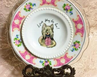 Sassy Dog • Kitschy Vintage Repurposed China • I Just Play For Fun • Dog Wall Art Plate • Animal Lover Art