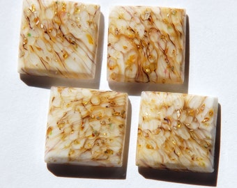 Vintage White Glass Square Cabochons with Gold Foil 15mm cab036D