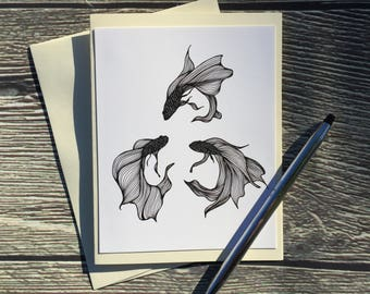 Betta Triquetra Original Ink Drawing Print - Ivory Note Card