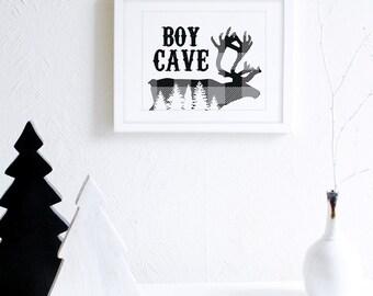 Boy Cave Wall Art, Rustic Boys Room Decor, Monochrome Nursery, Outdoors Art Print, Woodland Nursery Art, Black and White Boys Room Decor