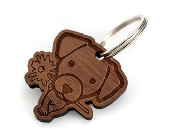 Jack Russell Terrier in Keychain - Small wooden dog engraved and laser cut - Color and metallic fastener Customizable