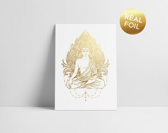 Golden Buddha Real gold foil card. Great gift for practitioners of buddhism, meditation, awareness, relaxation, zen and peace.