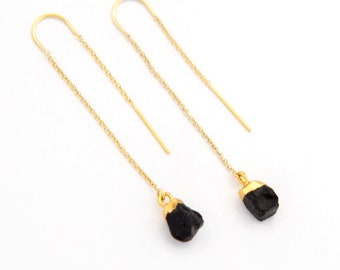 Black Onyx Earrings Gold, Long Dangle Earrings, Raw Crystal Threader Earrings, Dainty Earrings Dangle, Simple Stone, Boho Minimalist Gift
