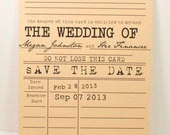 Vintage Library SAVE THE DATE Card - Literary Theme