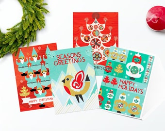 Christmas Card Set, Scandinavian Christmas, Modern Christmas, Festive Cards, Holiday Cards, Xmas Cards, Multipack Cards