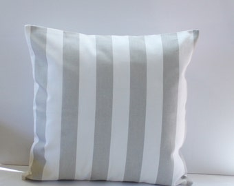 French Grey Striped Pillow Cover-  Grey and White Decorative Couch Pillow 16x16- Ready to Ship