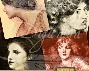 WOMEN IN ART (2) Digital Collage Sheet - Square Cards 4 inch & Squares 1 inch - Buy 3 Get 1 Extra Free - Instant Download