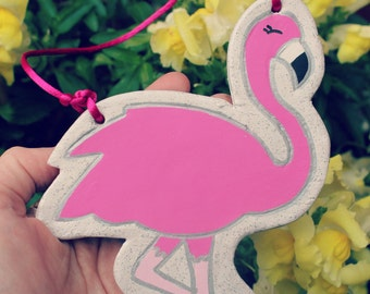 Flamingo ornament - flamingo clay keepsake - pink flamingo decoration - new baby gift - flamingo lover gift - be a flamingo - gifts for her