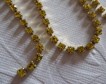 3mm Yellow Rhinestone Chain - Brass Setting - Citrine Yellow Preciosa Czech Crystals