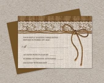 Rustic Wedding RSVP Card, DIY Printable Wedding Response Card, Burlap Wedding RSVP, Burlap And Lace Wedding Response Cards