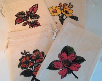 Inventory Clearance Priced -- Hand-Colored Burlap/sack Cloth Gift Bags -- Set of 4
