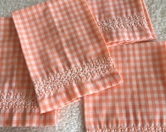 Set of 3 Peach Gingham Checked Vintage Hand towels or Napkins with Embroidery Border