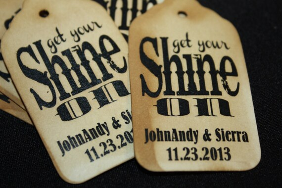"Get your Shine on SMALL 2"" Favor Tag alcohol sparkle tags"