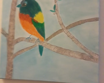 Colorful Bunting Water color bird painting