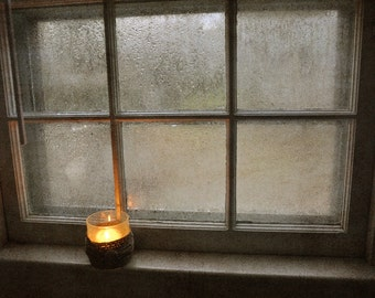 Candle in Window  Fine Art Photograph, Kitchen Art, Wall Décor, Minimalist, Sepia Tones, Light