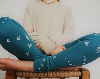 Childs bird leggings 7-8yrs SALE spring blue bird print swallow little birds childrens pants child jersey stretch knit kids trouser cotton