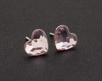 Swarovski Pink Heart Earrings Heart Stud Earrings Tiny Heart Earrings Swarovski Studs Sterling Silver Earrings Post Earrings Heart Jewelry