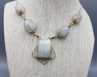 Rainbow Moonstone Sterling Silver Bib Necklace.