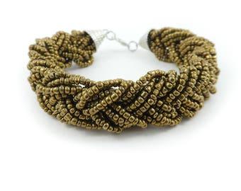 Vintage Brown, Woven Bead, Bracelet, Seed Beads, Silver Tone, STJ38