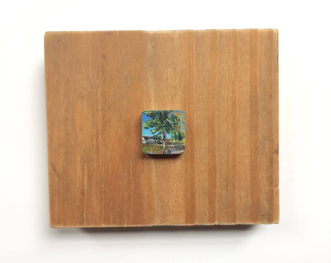 Hearth / tiny original a rylic painting on wood / home + yard art